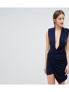 John Zack Tall Sleeveless Wrap Front Mini Dress - Navy