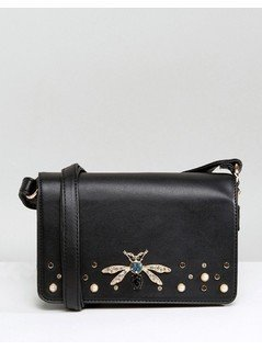 New Look Dragonfly Broach Cross Body Bag - Black