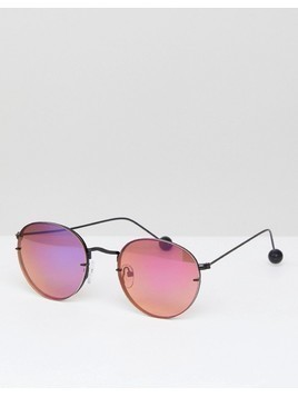 ASOS 90s Metal Round Sunglasses with Laid on Lens And Ball Arm Detail - Black