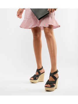 Aldo Heeled Espadrille Wedge Sandal - Black