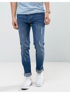 Loyalty and Faith Slim Fit Jeans with Abbriasions in Mid Wash - Blue