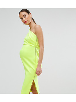 ASOS Maternity One Shoulder Scuba Deep Fold Midi Dress with Exposed Zip - Yellow
