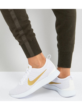 Nike Dualtone Racer Trainers In White And Gold - White