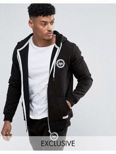 Hype Zip Up Hoodie With Crest Logo - Black