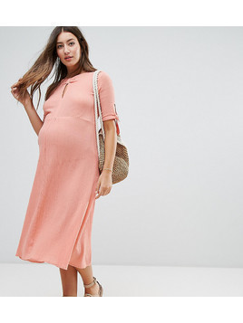 ASOS Maternity Cheesecloth Dress with Tab Detail - Orange