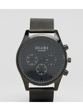 Reclaimed Vintage Inspired Chronograph Mesh Strap Watch In Black Exclusive to ASOS - Black