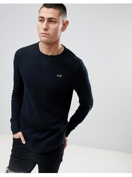 Hollister Seagull Logo Long Sleeve Top in Black - Black