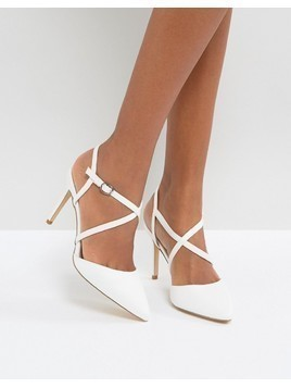 New Look Cross Front Pointed Heeled Shoes - White