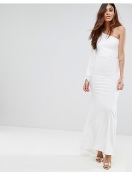TFNC Off Shoulder Fishtail Maxi Dress With One Shoulder Blouson Sleeve - White