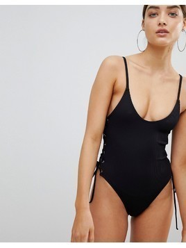 Twiin Mackenzie Rib Lace Up Swimsuit - Black