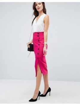 ASOS Midaxi Skirt with Side Button Detail - Pink