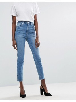 ASOS DESIGN Farleigh high waist slim mom jeans in light stone wash - Blue