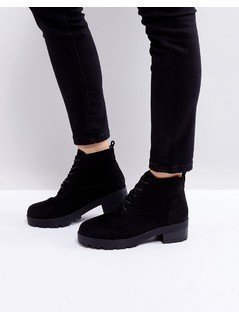 Truffle Collection Lace Up Low Ankle Boot - Black