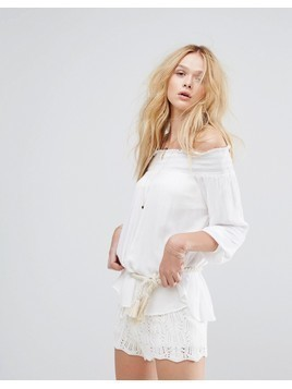 Oysho Bardot Beach Top - White