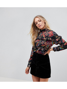 Vero Moda Tall Floral High Neck Blouse With Ruffles - Multi
