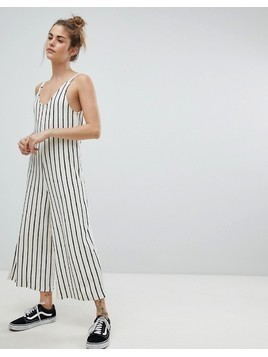 Pull&Bear Stripe Cami Jumpsuit - White