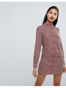 Fashion Union Western Shirt Dress In Country Rose Print - Red
