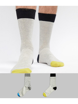Selected Homme 2 Pack Socks With Heel Colour Pop - Multi