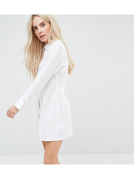 ASOS PETITE Cotton Shirt Dress with Pearl Detail - White