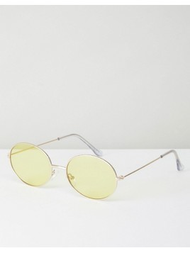 ASOS 90s Oval Metal Sunglasses With Yellow Lens - Gold