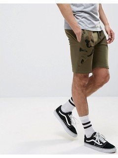 ASOS Skinny Jersey Shorts With Camo Cut&Sew - Green