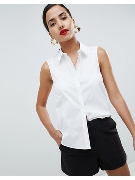 ASOS DESIGN sleeveless shirt in stretch cotton - White