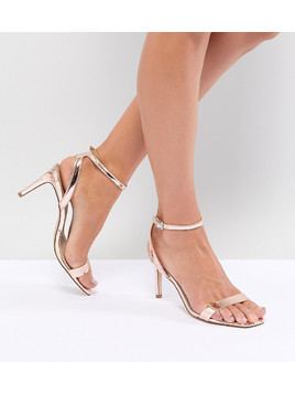 ASOS DESIGN Half Time Barely There Heeled Sandals - Gold