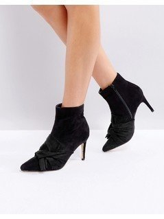 Truffle Collection Bow Trim Stiletto Boot - Black