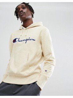 Champion Hoodie With Script Logo In Stone - Stone