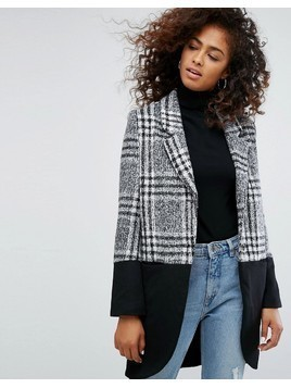 Religion Property Coat In Check Mix - Grey