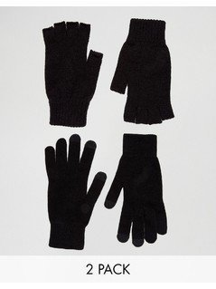 ASOS 2 Pack Fingerless and Touchscreen Gloves in Black SAVE - Black