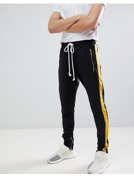 Criminal Damage Skinny Joggers In Black With Yellow Side Stripe - Black