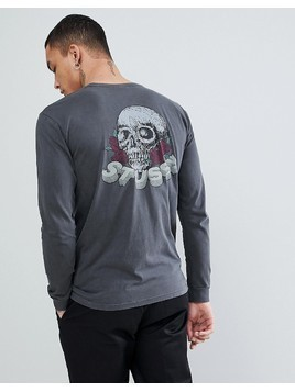 Stussy Pigment Dyed Long Sleeve T-Shirt With Skull&Roses Back Print In Black - Black