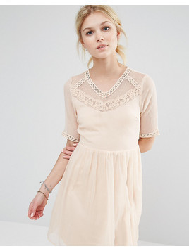 Vero Moda Petite Mesh Yoke Skater Dress - Cream