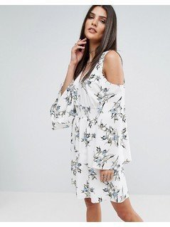 River Island Cold Shoulder Dress In Floral Print - Multi