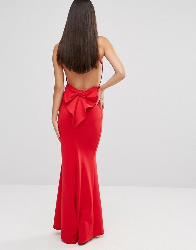 City Goddess Maxi Dress With Bow Detail And Exposed Back - Red
