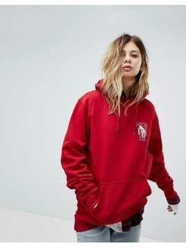 Vans Oversized Hoodie In Red With Back Print - Red