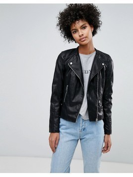 Vero Moda Leather Look Biker Jacket - Black