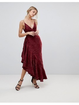 C/Meo Collective Ember Ruffle Midi Dress - Red