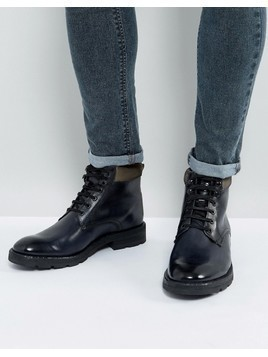 Base London Panzer Leather Lace Up Boots In Grey - Grey