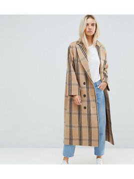 ASOS PETITE Wool Coat in Check - Multi