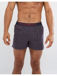 Emporio Armani Woven Logo Trunks in Navy Spot - Navy