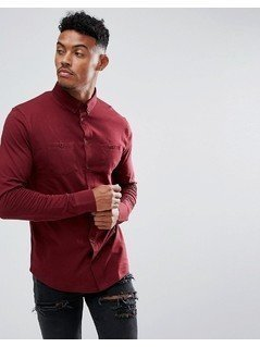 boohooMAN Jersey Shirt With Double Pockets In Burgundy - Red