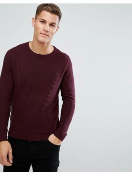 Burton Menswear Textured Knitted Jumper In Burgundy - Red