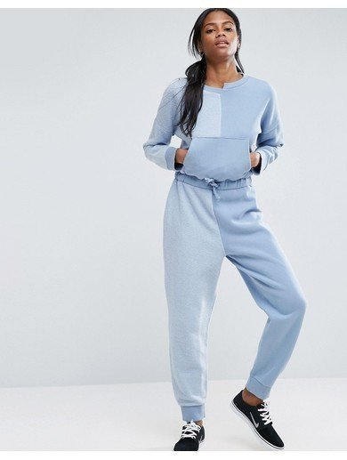 ASOS Washed Deconstructed Sweat Jumpsuit - Blue