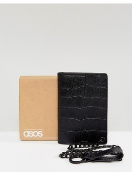 ASOS Leather Wallet In Black Crocodile Emboss With Chain - Black