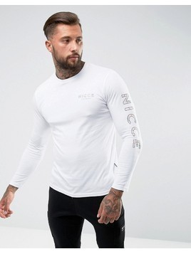 Nicce London Long Sleeve T-Shirt With Camo Sleeve Logo - White