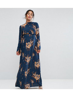 ASOS Maternity Maxi Dress with Long Sleeve in Chinoiserie Print - Multi