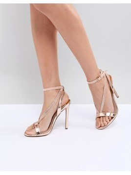 River Island Metallic Barley There Heeled Sandals - Copper