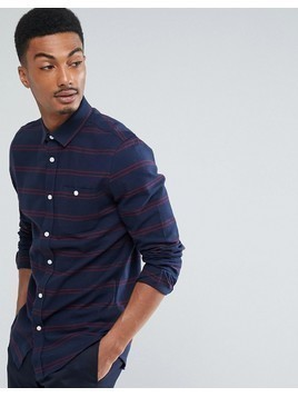 Threadbare Flannel Stripe Shirt - Navy